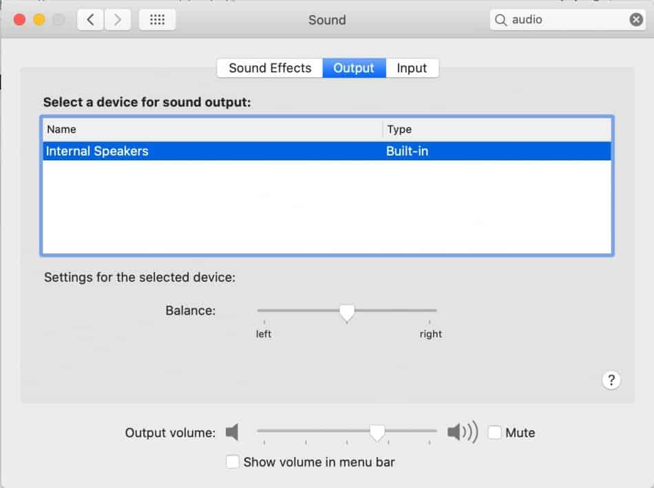 Checking Audio Settings on Mac